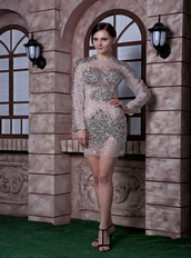 Organza Full Beaded Unique Design Cocktail Dress Long Sleeves Unique