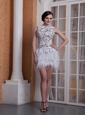 Scoop Neck Lace Bodice Cocktail Dress With Feather Mini Skirt Unique