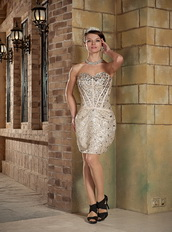 Champagne Mini-length Sequin Cocktail Business Dress With Diamonds Unique