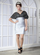 Black Sequin and Silver Layers Skirt V-neck Mini-length Cocktail Dress Unique