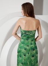 Side Split Skirt  Unique Special Occasion Dress With Peafowl Printed