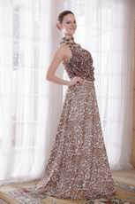 Unique High-neck Leopard Printed Chiffon Sexy Prom Dress