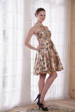 Sexy Halter Leopard Printed Short Prom Dress For Girl