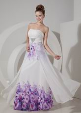 Sweetheart Elegant White Printed Fabric Prom Party Dress