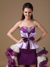 Multi-Color White And Purple Short Front Long Back Cocktail Dress