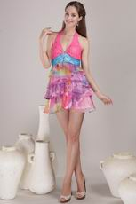 Brand New Top Designers For 2014 Printed Chiffon Prom Dress