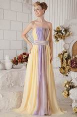 New Style Strapless Colorful Contrast Color Chiffon Prom Dress