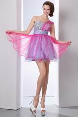 Lovely One Shoulder Hot Pink Sweet 16 Dress Discount
