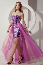 Ablaze High-Low Purple Sequin Pink Business Cocktails Dress
