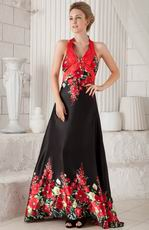 New Arrival Halter Skirt Prom Dress Red and Black Printed Flowers