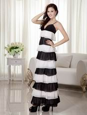 Ombre White and Black Contrast Layers Celebrity Dress Ankle-length