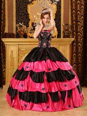 Black And Pink Layers Skirt Quinceanera Dress With Stars