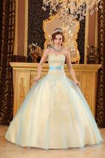 Yellow Quinceanera Girls Dress Covered With Blue Tulle