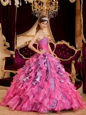 Hot Pink And Leopard Printed Ruffled Skirt Quinceanera Dress