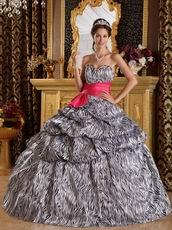 Popular Zebra Printed Fabric Quinceanera Dress With Fuchsia Sash