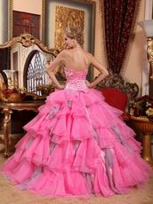 Layers Organza Skirt Hot Pink Quincaenera Dress For Winter Wear