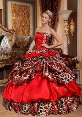 Unique Strapless Deer Printed Winter Quinceanera Dress In NE