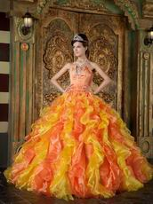 Yellow And Orange Contrast Cascade Skirt Quinceanera Ball Dress