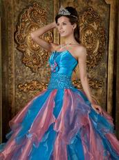 Orange Pink and Azure Ombre Puffy Skirt Quince Gowns 2014