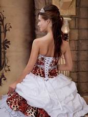 Cascade Skirt  Best White Quinceanera Dress With Leopard Fabric