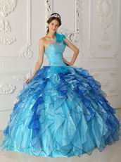 Multi Color Ruffled Cascade Skirt Quince Gowns Sky Blue