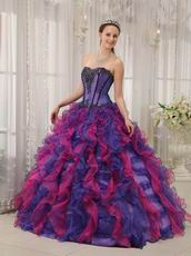 Blue Violet And Fuchsia Contrast Color Skirt Quinceanera Dress