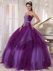 Beaded Strapless Contrast Color Quinceanera Prom Party Dress