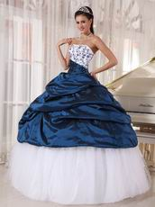 Mineral Blue Quinceanera Party Dress With White Puffy Skirt