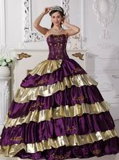 Purple and Golden Layers Puffy Quinceanera Dress By Top Designer