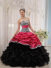 Zebra Fabric Printed Fuchsia Quinceanera Dress Brand New