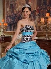 Aqua Blue And Black Cascade Skirt Sweet Sixteen Ball Gown