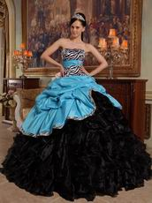Aqua Blue And Black Cascade Skirt Sweet Sixteen Ball Gown