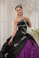 Appliqued Strapless Black and Purple Quince Dress For Young Girl