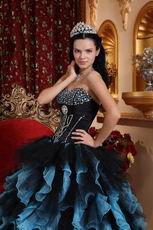 Aqua And Black Ruffled Skirt Designer Quince Dress For Winter
