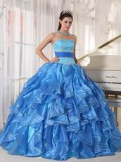 Muliti Blue Organza Fabric Clearance Quince Theme Dresses
