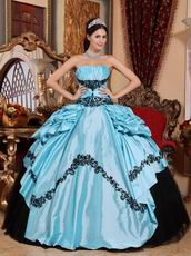 Light Sky Blue Quinceanera Dress With Black Applique