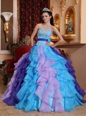 Strapless Colorful Puffy Skirt Custom Made Quinceanera Dress