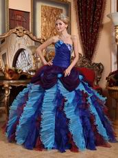 Low Price Color Ruffled Skirt Puffy Floor Length Ball Gown