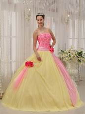 Strapless Daffodil Skirt Quinceanera Dress With Pink Flowers