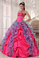 Deep Rose Pink 16th Girl Quinceanera Dress With Ruffled Skirt