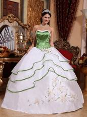 White Discount Quinceanera Dress With Spring Green Details