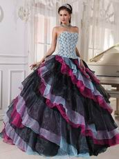 Diagonal Multi-color Layers Skirt Ebay Quinceanera Dress Gowns