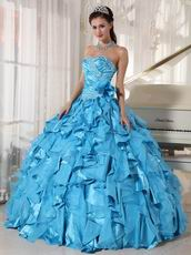 Beautiful Sky Blue Ruffles Skirt Quinceanera Dress Under $250