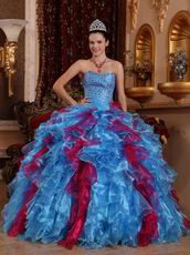 Carmine And Cornflower Blue Allure Quinceanera Dress Ombre
