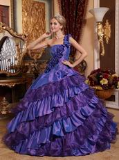 Wisteria And Purple Layers Skirt One Strap Quince Dress