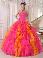 Hot Pink and Orange Ombre Quinceanera Dress Contrast Color