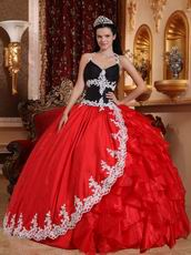 Black And Crimson Red Quinceanera Party Sweet 16 Girl Dress