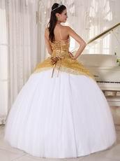 Spaghetti Straps White Skirt With Golden Sequin Sweet Sixteen Dress