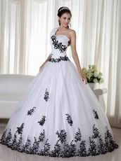 One Shoulder White Quince Dress With Black Leaves Decorate