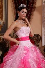 Pink and Hot Pink Contrast Color Ruffled Quince Dress Ombre